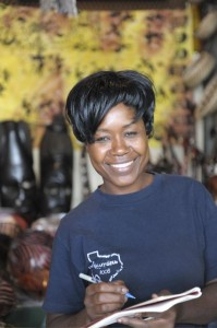 Verkoopster souvenir markt Livingstone
